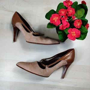 TOD'S wooden heel suede executive pumps